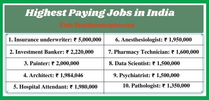 Highest paying jobs in India Career Guide: Best list of highest paying jobs in the world 2021(Top 10 Careers in different countries and industries)